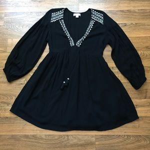 Black Mini Dress Embroidery Tassel Band of Gypsies